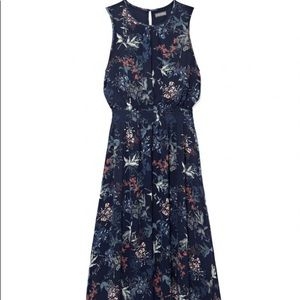 Vince Camuto Garden Floral Smoked Waist Midi Dress